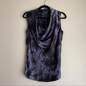 Theory • Purple & Black Tie Dye Sleeveless Top